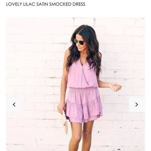 VICI 'Lovely Lilac Satin Smocked Dress'